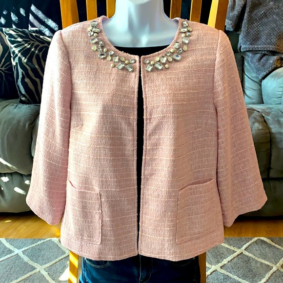 NWT Pink Joan Rivers Rhinestone Pearl Blazer M